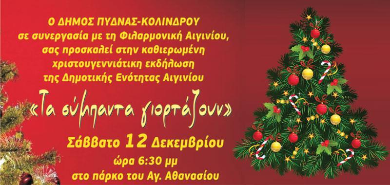 Πρόσκληση για το Άναμμα του Χρστουγεννιάτικου Δέντρου στο Αιγίνιο, στο Κίτρος κα